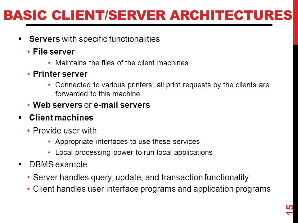 Basic Client/Server Architectures