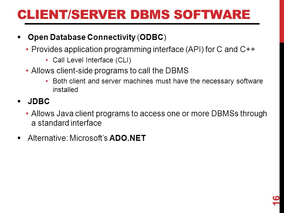 Client/Server DBMS Software