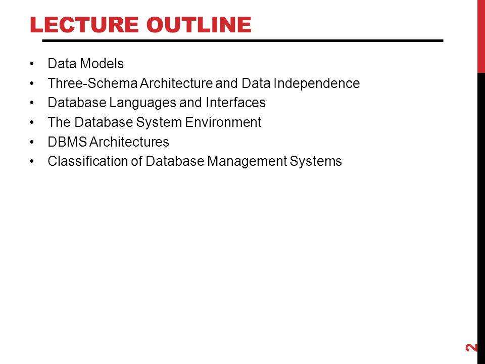Lecture Outline Data Models
