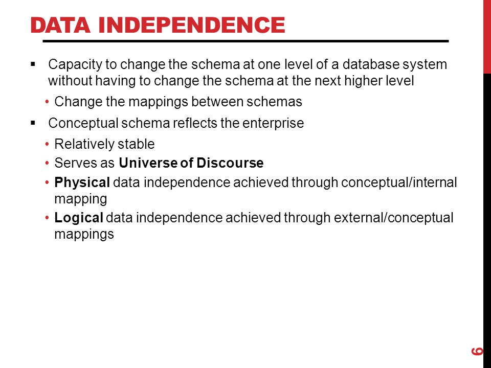 Data Independence Capacity to change the schema at one level of a database system without having to change the schema at the next higher level.