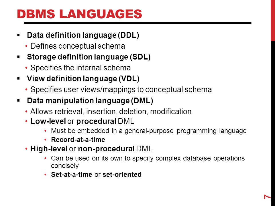 DBMS Languages Data definition language (DDL)