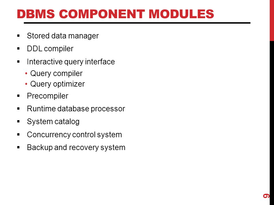 DBMS Component Modules