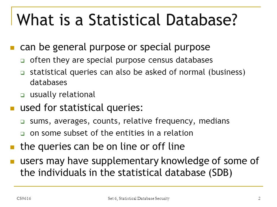 What is a Statistical Database