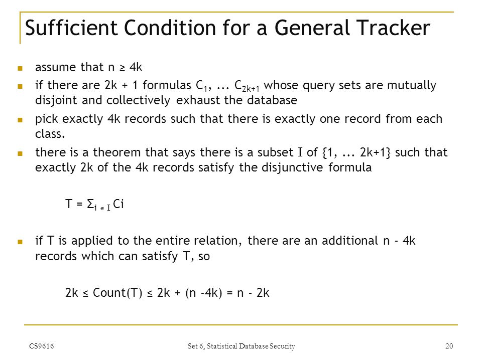 Sufficient Condition for a General Tracker
