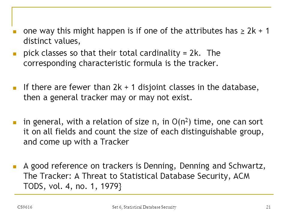 Set 6, Statistical Database Security