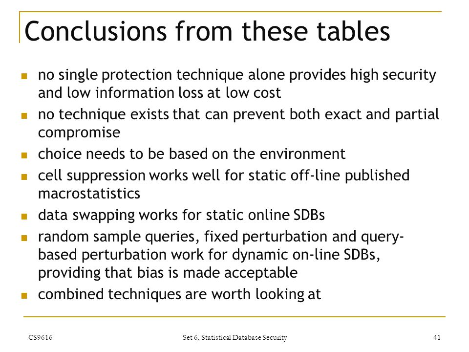Conclusions from these tables