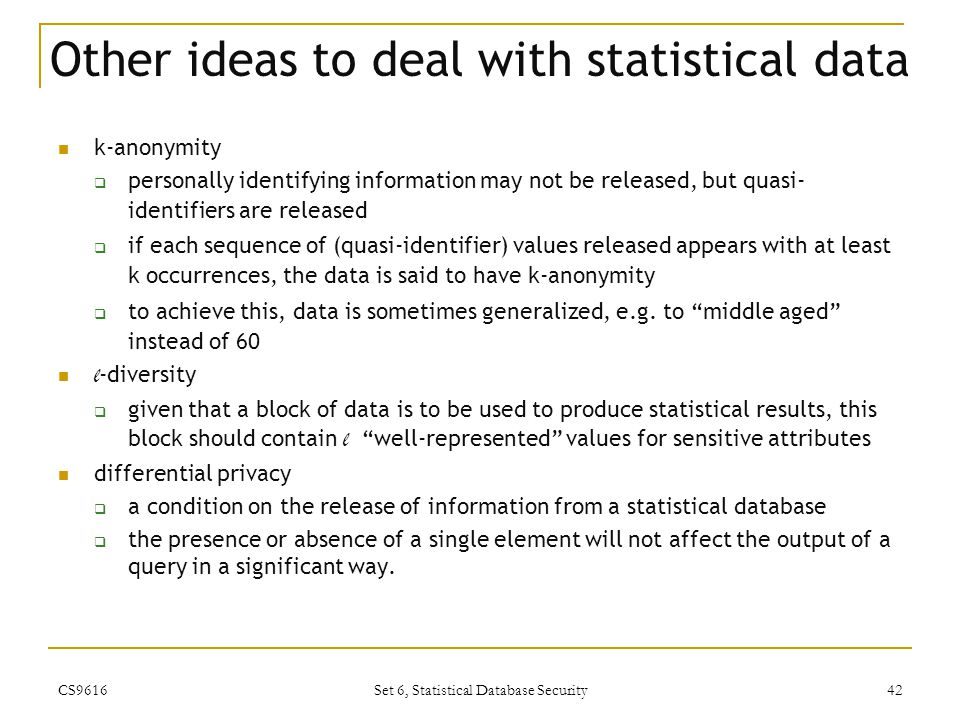 Other ideas to deal with statistical data