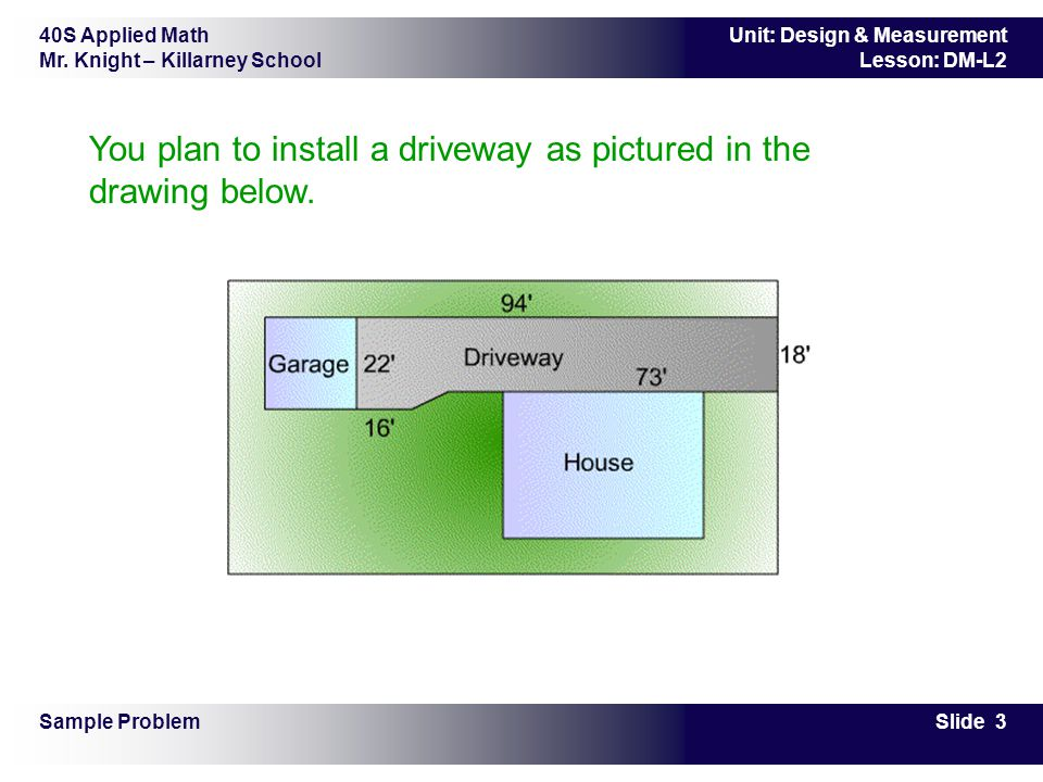 You plan to install a driveway as pictured in the drawing below.