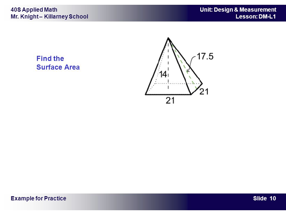 Find the Surface Area Example for Practice