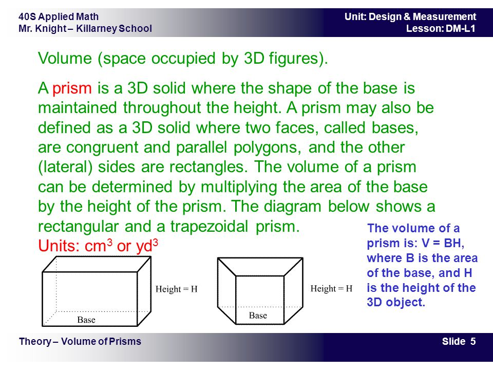Volume (space occupied by 3D figures).