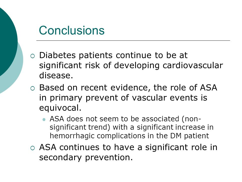 Conclusions Diabetes patients continue to be at significant risk of developing cardiovascular disease.