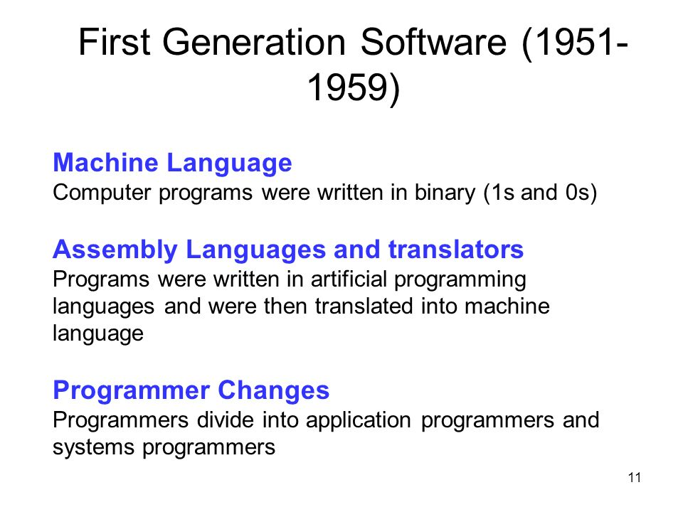 First Generation Software (1951-1959)
