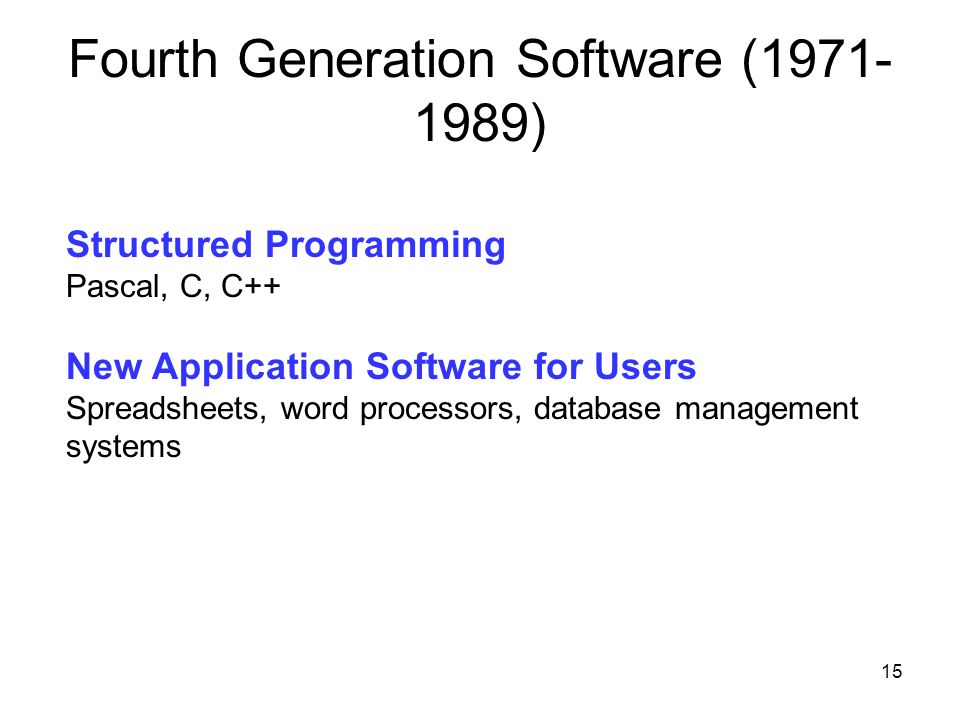 Fourth Generation Software (1971-1989)