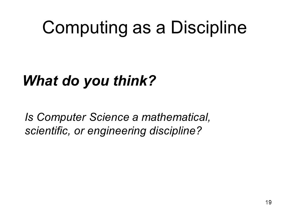 Computing as a Discipline