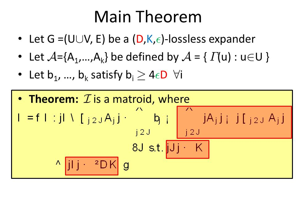 Main Theorem Let G =(U[V, E) be a (D,K,²)-lossless expander