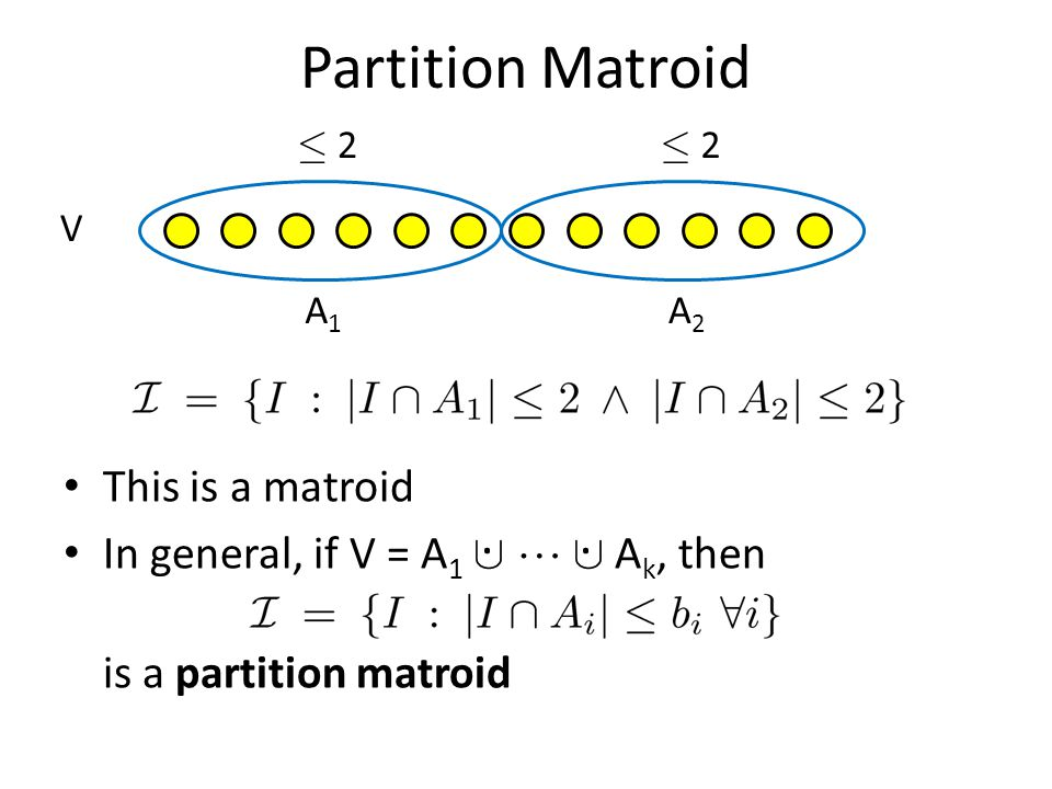 Partition Matroid . . This is a matroid