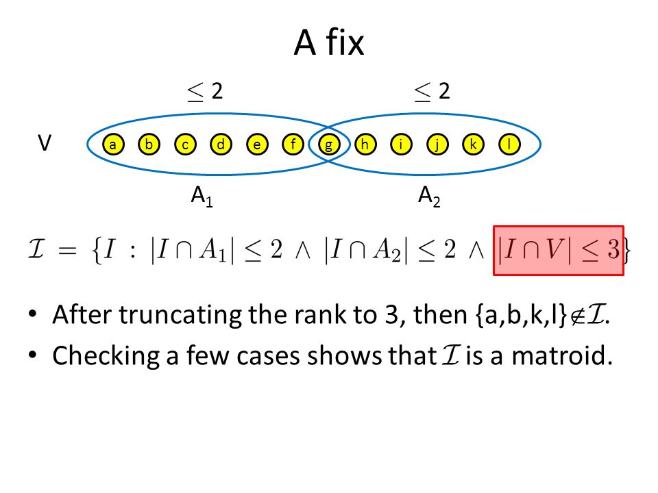 A fix After truncating the rank to 3, then {a,b,k,l}I.