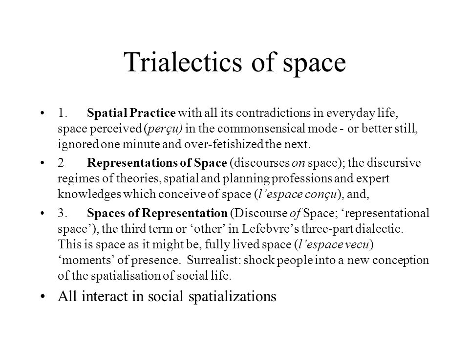 Trialectics of space All interact in social spatializations