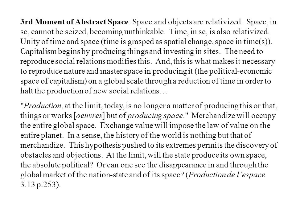3rd Moment of Abstract Space: Space and objects are relativized