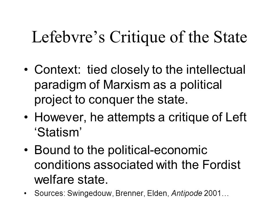 Lefebvre's Critique of the State