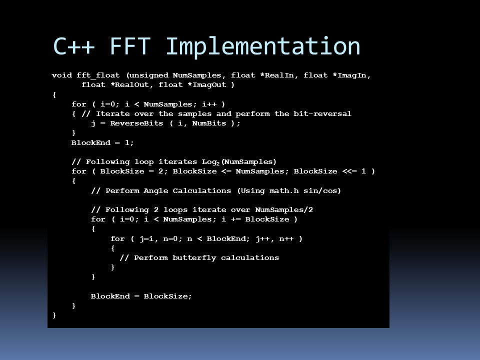 C++ FFT Implementation