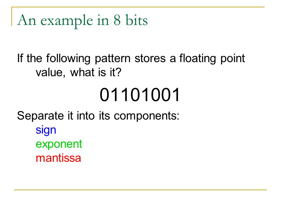 An example in 8 bits If the following pattern stores a floating point value, what is it 01101001.