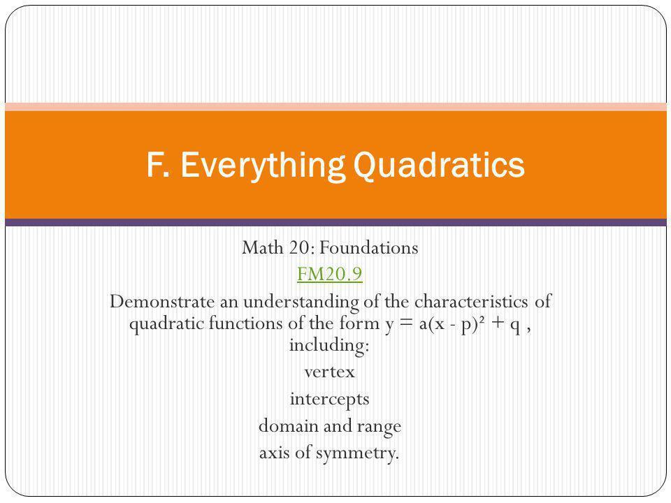 F. Everything Quadratics