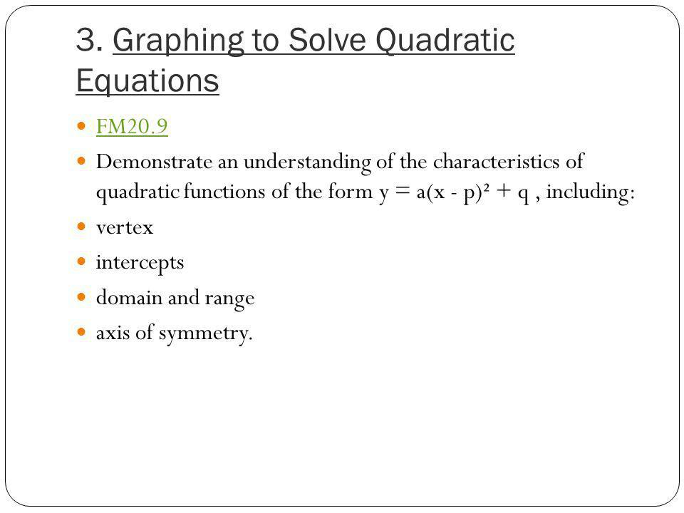 3. Graphing to Solve Quadratic Equations