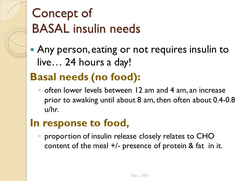 Concept of BASAL insulin needs