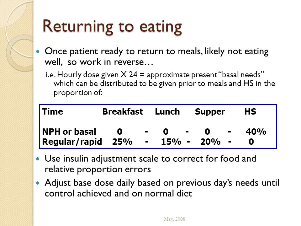 Returning to eating Once patient ready to return to meals, likely not eating well, so work in reverse…