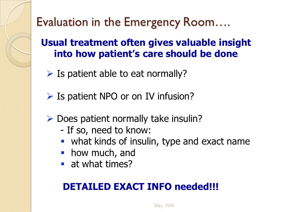 Evaluation in the Emergency Room….