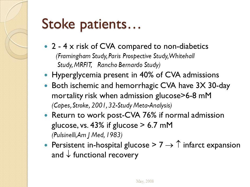 Stoke patients… 2 - 4 x risk of CVA compared to non-diabetics