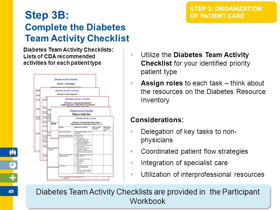 Step 3B: Complete the Diabetes Team Activity Checklist