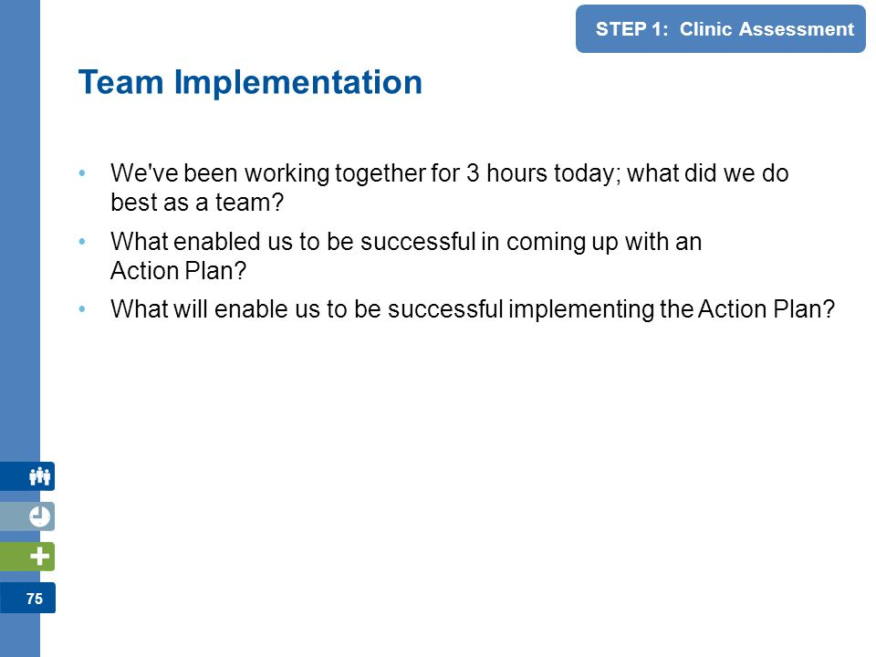 Team Implementation We ve been working together for 3 hours today; what did we do best as a team