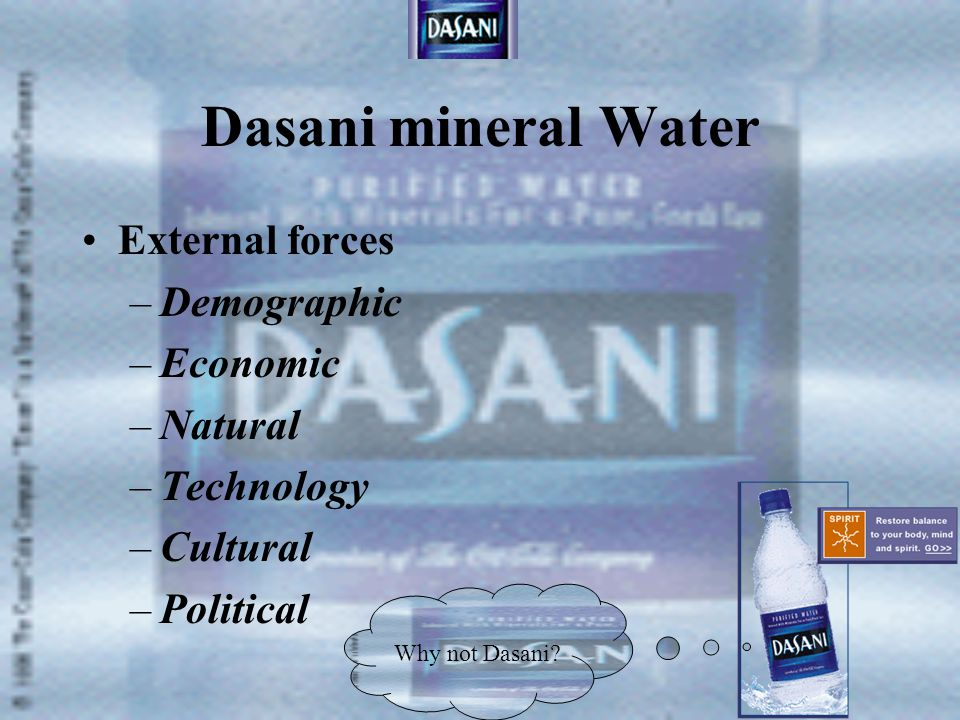 Dasani mineral Water External forces Demographic Economic Natural