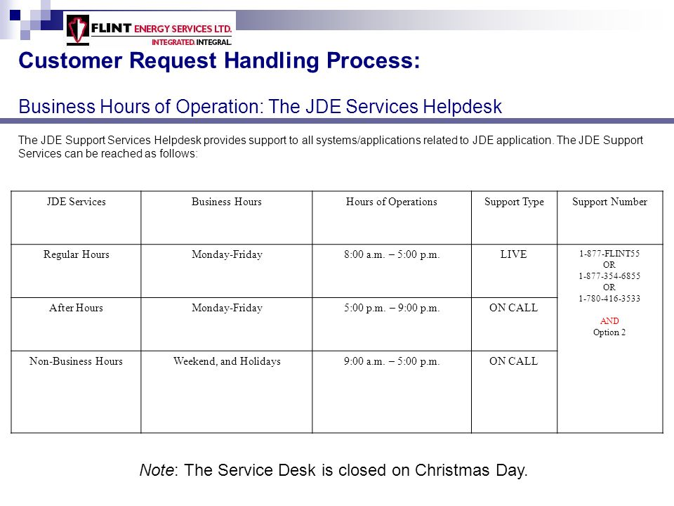 Customer Request Handling Process: Business Hours of Operation: The JDE Services Helpdesk