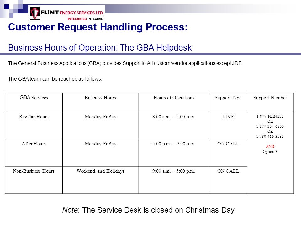 Customer Request Handling Process: Business Hours of Operation: The GBA Helpdesk