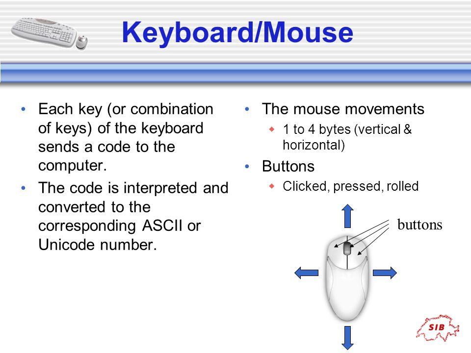 Keyboard/Mouse Each key (or combination of keys) of the keyboard sends a code to the computer.