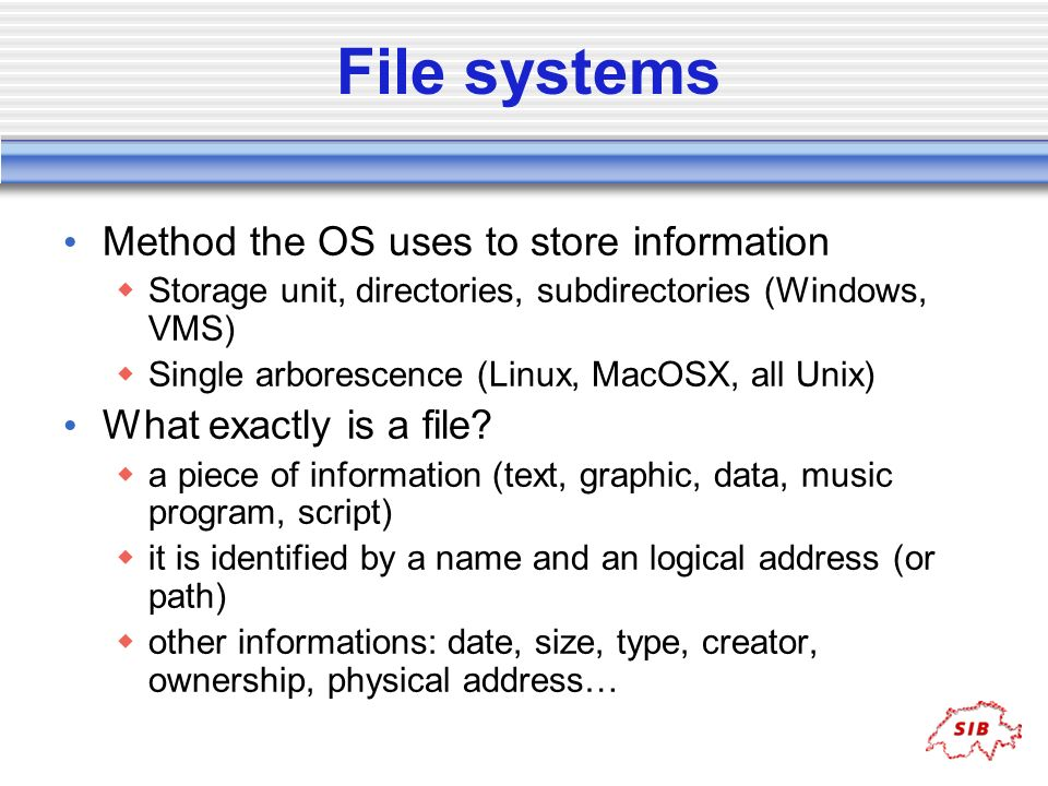 File systems Method the OS uses to store information