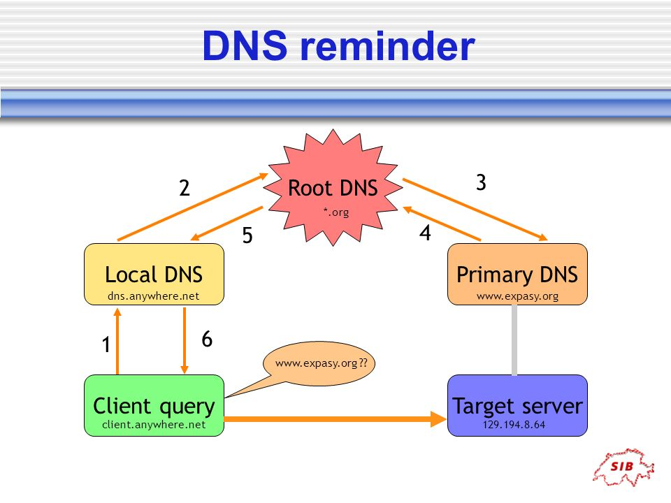 DNS reminder Primary DNS Root DNS Local DNS Client query Target server