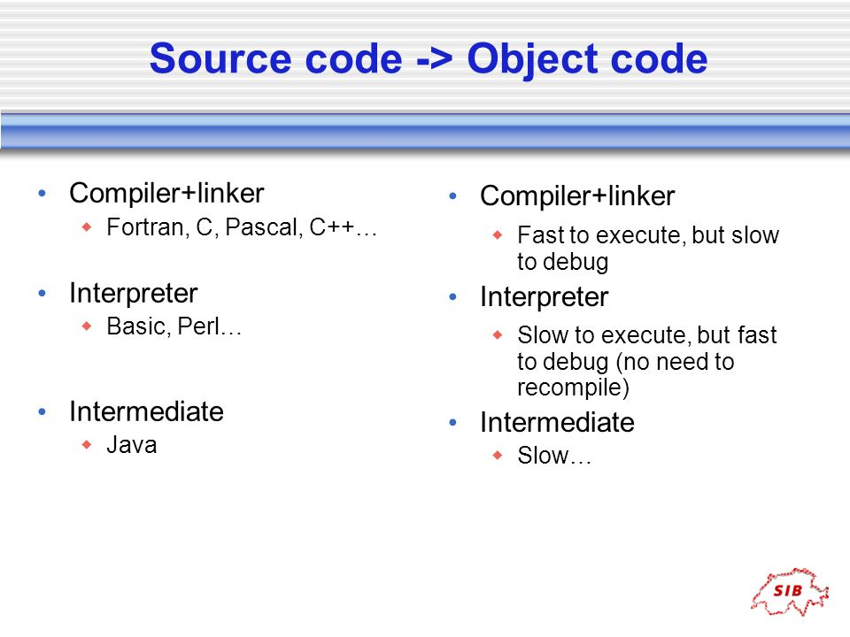Source code -> Object code