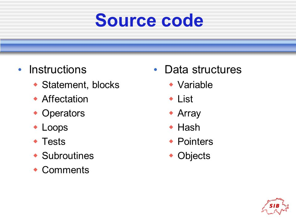 Source code Instructions Data structures Statement, blocks Affectation