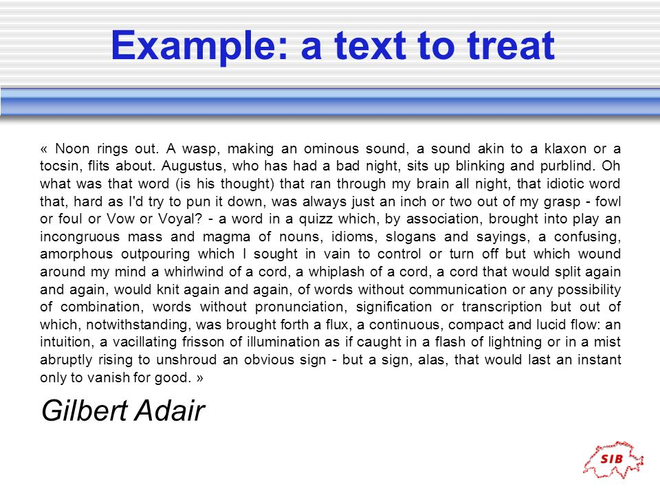 Example: a text to treat