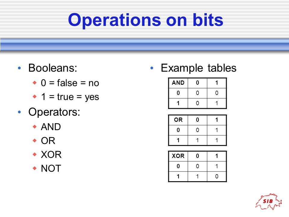Operations on bits Booleans: Operators: Example tables 0 = false = no