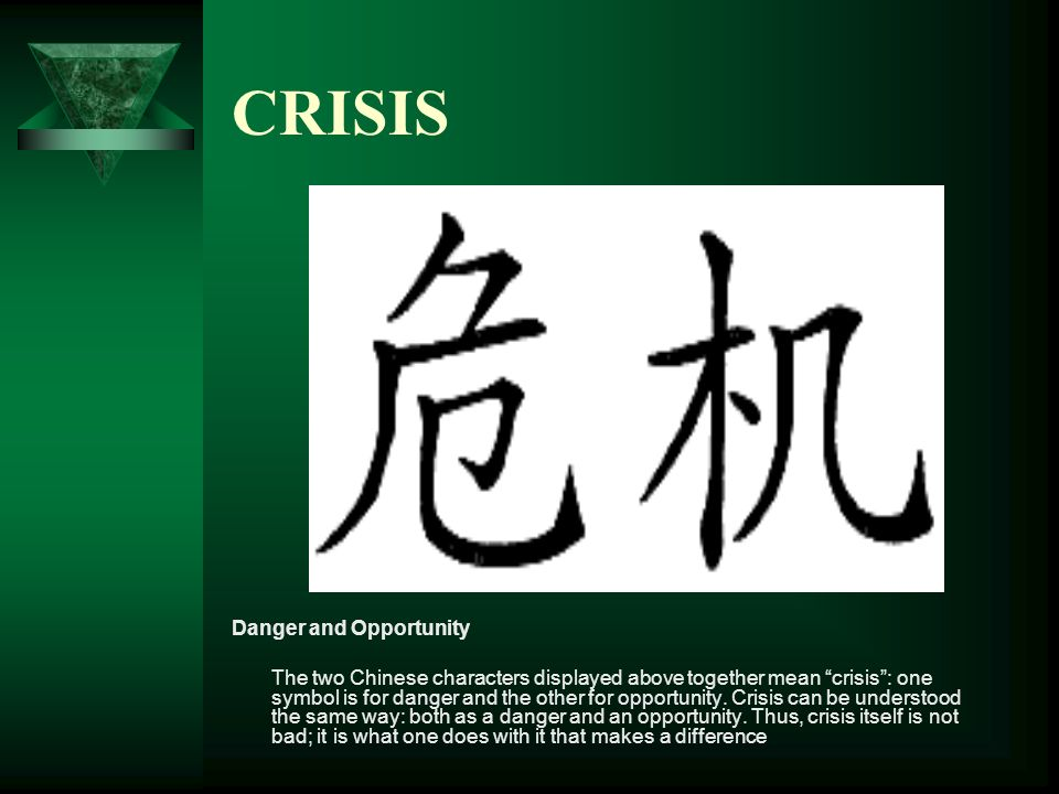 CRISIS Danger and Opportunity