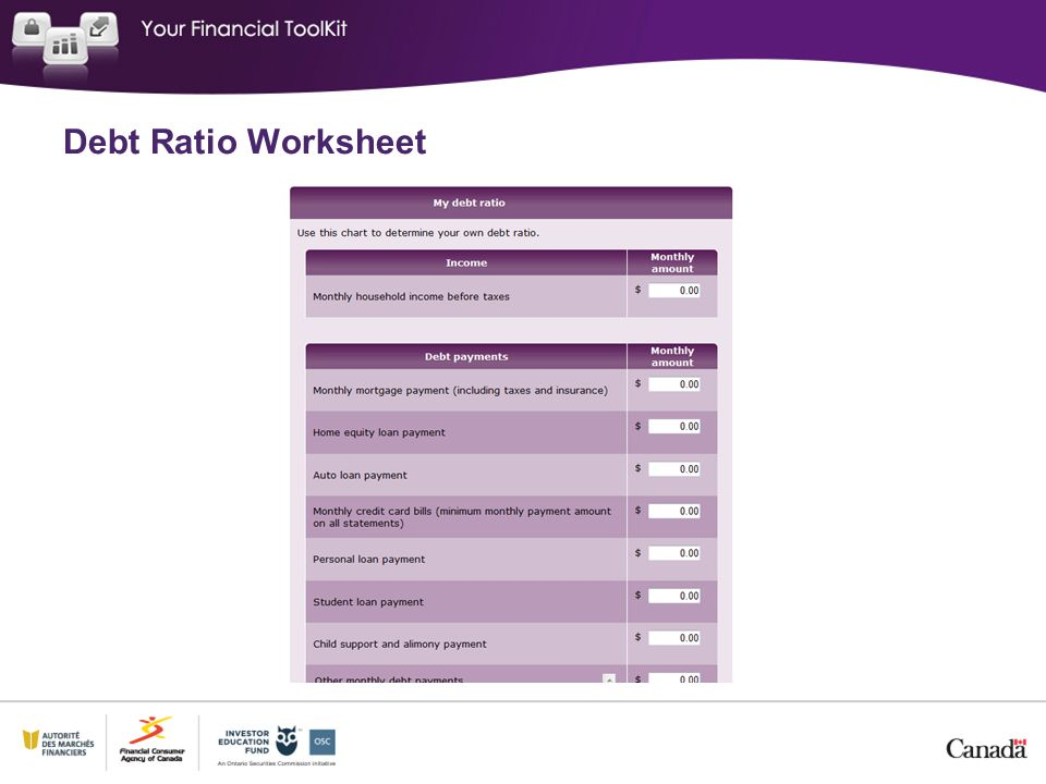 Debt Ratio Worksheet