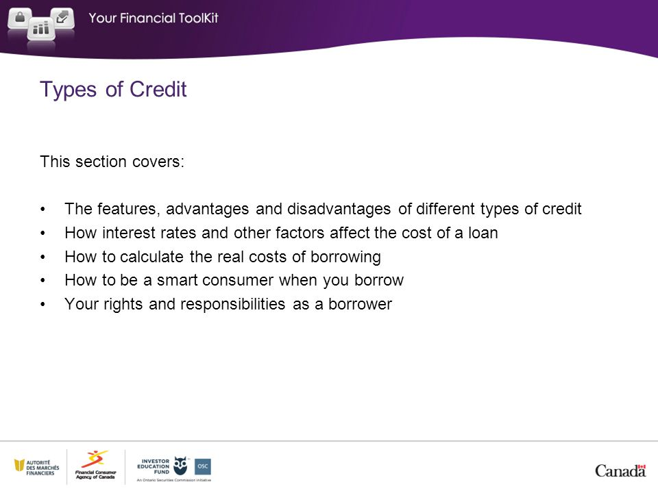 Types of Credit This section covers: