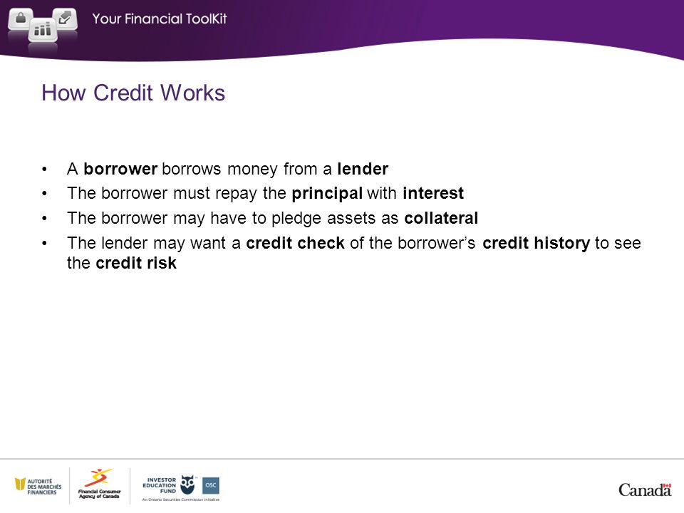 How Credit Works A borrower borrows money from a lender