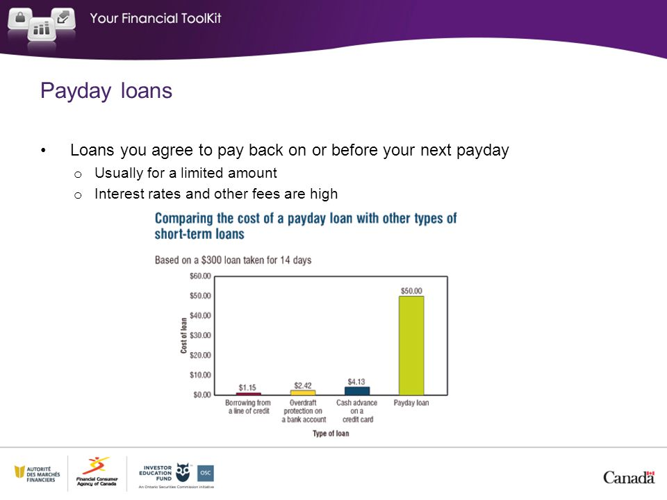 Payday loans Loans you agree to pay back on or before your next payday