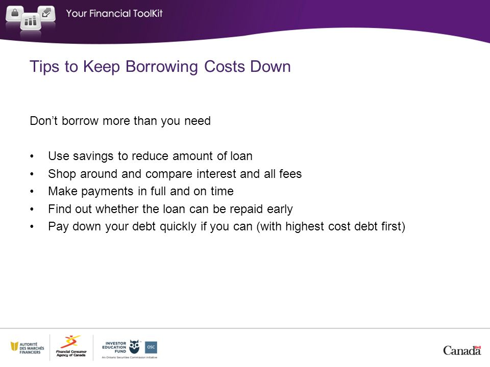 Tips to Keep Borrowing Costs Down